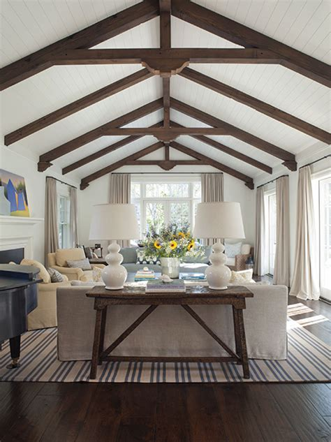 wood beams on ceiling vaulted ceiling with exposed wood beams cottage living