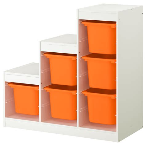 children storage trofast storage combination white orange 99x44x94 cm ikea