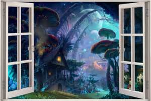 huge 3d window view fairy tale enchanted forest fantasy