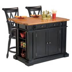 home styles kitchen island 3 piece set black distressed oak with 2 deluxe bar stools in