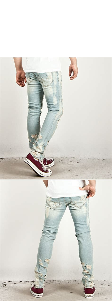 men s fashion heavy distressed super skinny ice blue jeans 5050 bottoms sold out super heavy distressed accent vintage