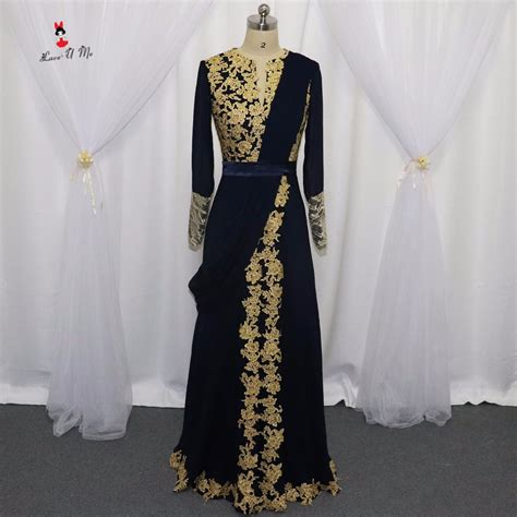 Promo 6965 Gold Maxi Maxi Dress Dress Muslim Murah Baju Muslim M aliexpress buy navy blue sleeve arabic muslim evening dresses gold indian prom