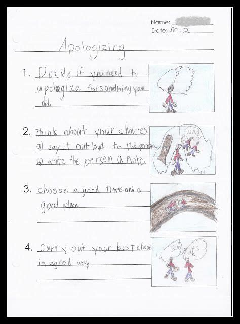 free social skills lesson templates apologizing staying
