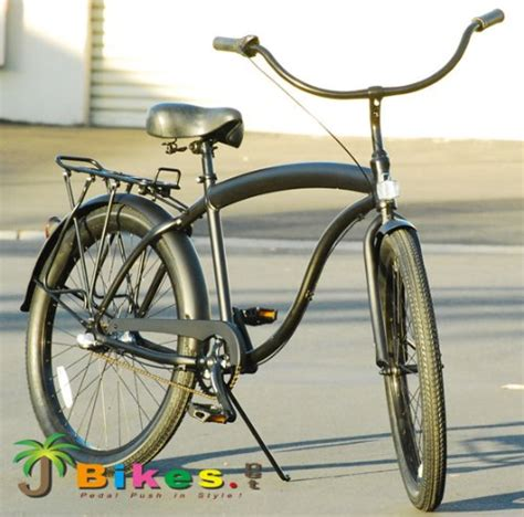 Cruiser On Bike Rack by J Bikes Hawk Aluminum 3 Speed Matte Black S 26