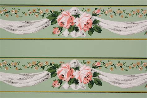 Jw Wallborder Pink Green Background 1940s vintage wallpaper border pink and yellow roses with