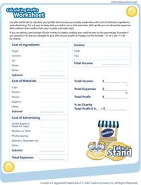 lemonade stand profit worksheet pdf from sunkist growers