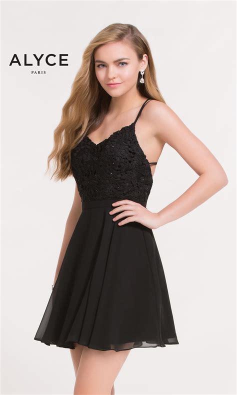 alyce paris  short strappy lace dress french novelty