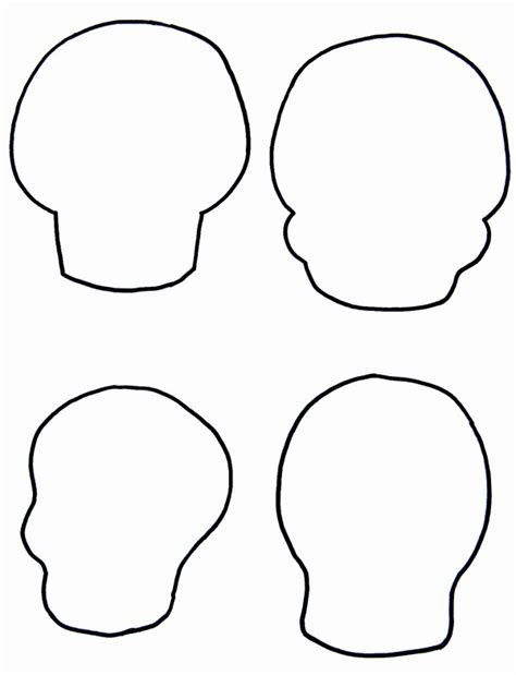 blank sugar skull template skull outline drawings clipart best