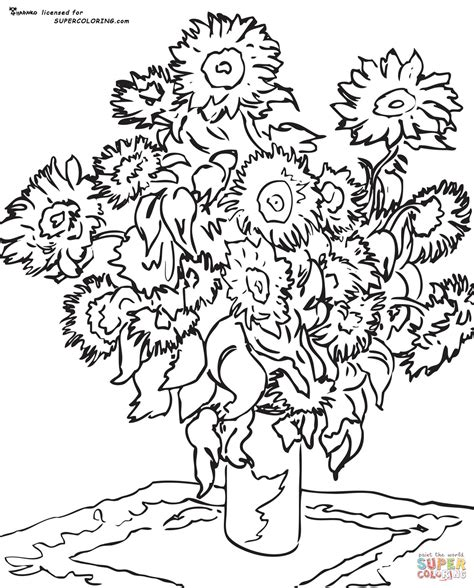sunflower by claude monet coloring page free printable