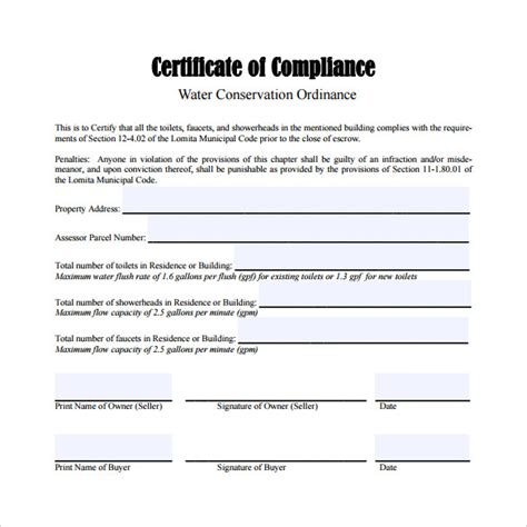 13 Certificate Of Compliance Sles Sle Templates Certificate Of Compliance Form Template