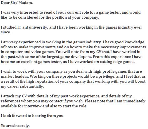 cover letter for gaming tester cover letter exle learnist org