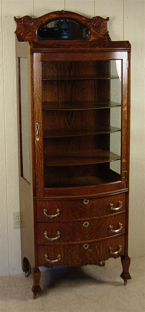 curio cabinet with drawers small oak curio cabinet with 3 drawers