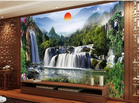 waterfall decoration for homes landscape waterfall tv backdrop waterfall 3d room