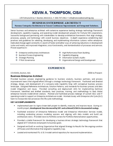 it resume engineering sle resume business architect