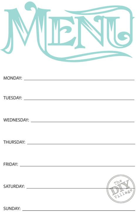 weekly menu planner printable free free printable weekly menu planner the diy village