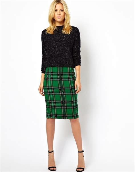 plaid pencil skirt style inspiration