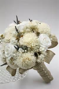 burlap and rose nosegay bridal bouquet