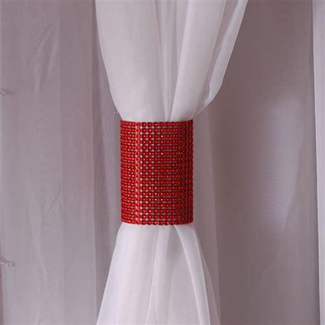 rhinestone curtains red rhinestone mesh velcro band curtain tie