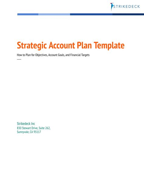 strategic account planning template customer success templates strikedeck transforming