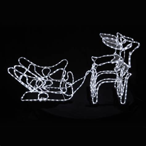 reindeer sleigh white led rope light 124cm decoration