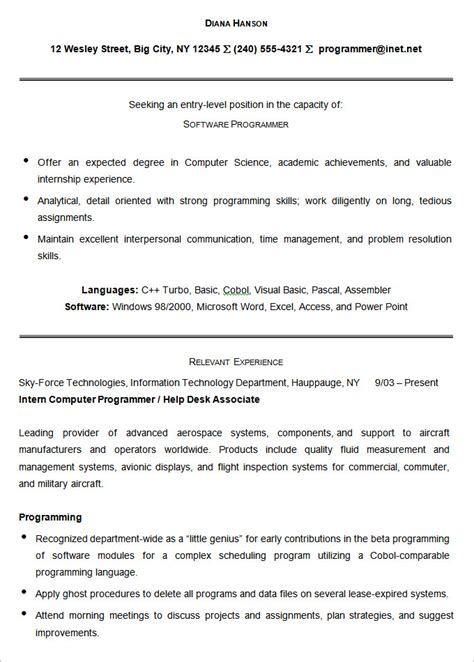 resume sle for computer programmer 28 images
