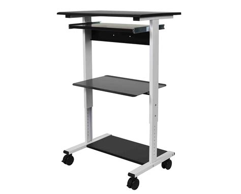 luxor three shelf adjustable stand up workstation tiger