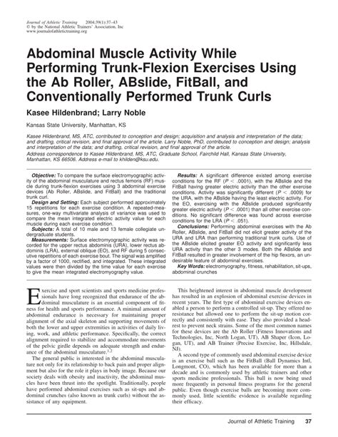 abdominal muscle activity  performing trunk