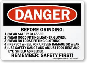 7 Floor Grinder by Grinder Safety Signs Wear Face Shield Eye Protection