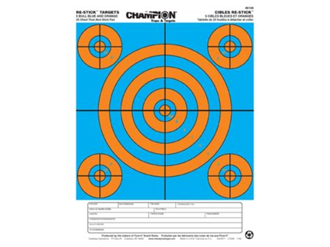 printable targets midway chion re stick 5 bull blue orange self adhesive targets