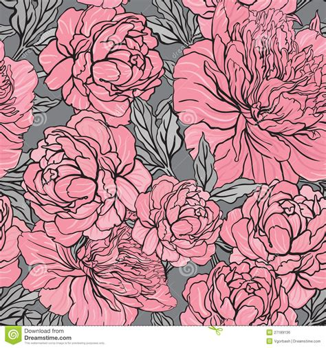 peoni pattern font free elegant seamless color peony pattern on gray background