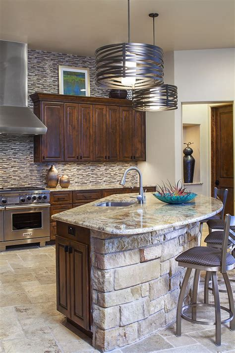 kitchen rock island a unique curved island with a rock facade and contemporary