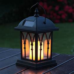 Patio Lantern Lights Solar Powered Outdoor Garden Flickering Candle Holder Led Lantern Light L Ebay