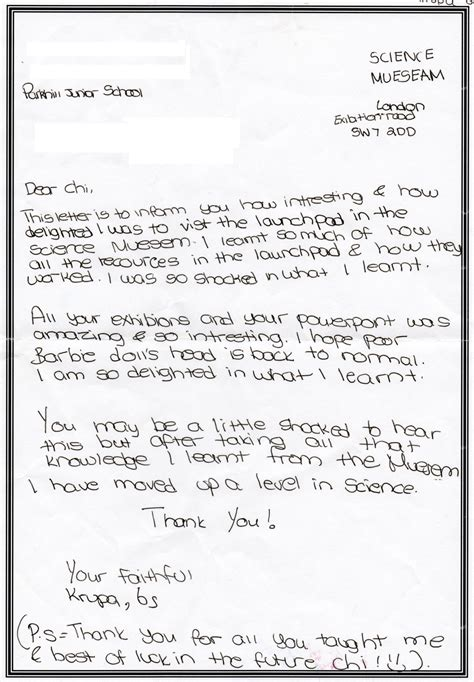 visitor letters parkhill school science museum blog
