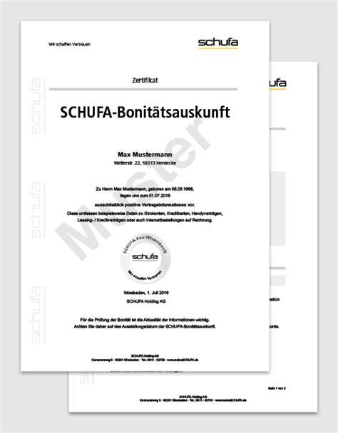 Was Steht In Der Schufa Für Vermieter by Schufa Bonit 228 Tsauskunft Bonit 228 Tsauskunft F 252 R Vermieter