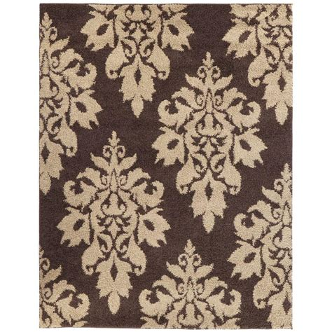 damask bathroom rug home decorators collection meadow damask dark brown 9 ft