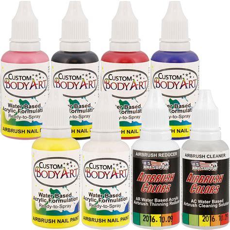 Dijamin Non Toxic Premium Quality Temporary 14 6 color set of custom airbrush nail paint in 1 oz
