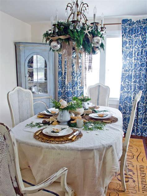coastal chic holiday table hgtv