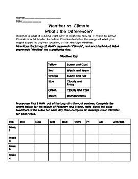 Weather Vs Climate Worksheet by Weather Vs Climate M M Activity By The Techie Science