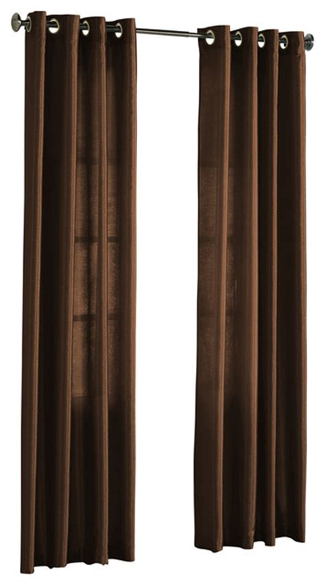chocolate brown curtain panels hlc me pair of faux silk grommet curtain panels chocolate