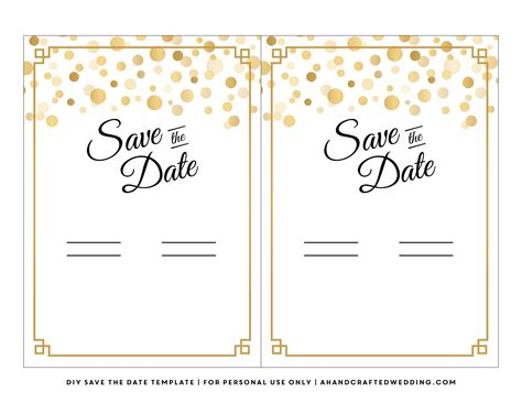 free save the date card templates gold theme 7 best images of diy save the date template