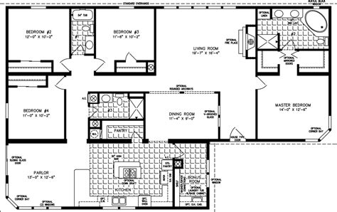 floor plans 4 bedroom manufactured homes floor plans jacobsen homes