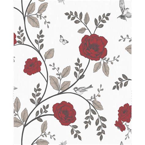 wilko wallpaper rosanna floral red wilko