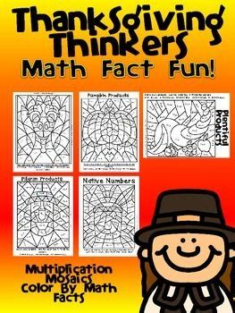 thanksgiving color by number multiplication mosaic bundle 192 best images about math resources on pinterest math