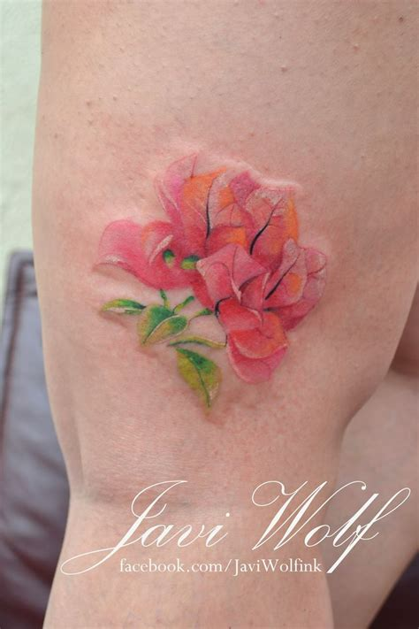 watercolor tattoo lines watercolor bougainvillea no lines watercolor