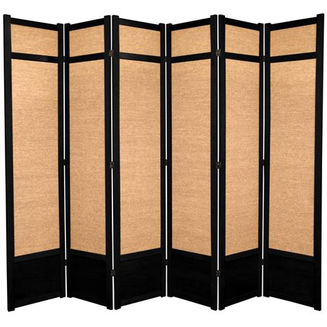 7 ft black 6 panel room divider 84jute blk 6p the home