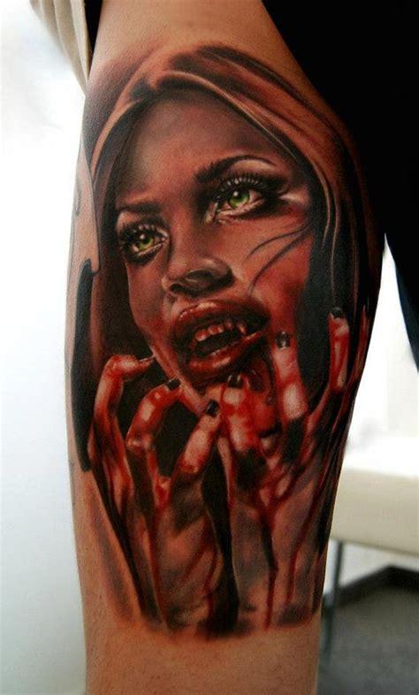 tatouage visage dune femme horrifique inkage