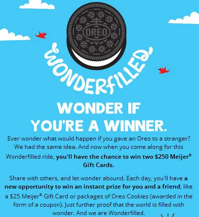 Meijer Oreo Sweepstakes - win free oreo cookie coupon or 250 meijer gift card