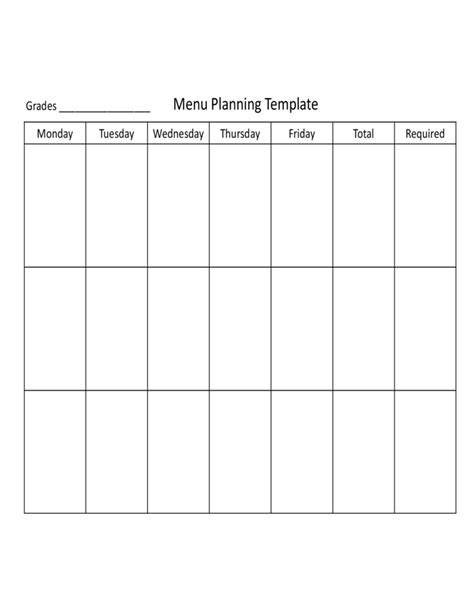 menu planning template free basic menu planning template free