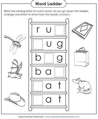 Word Ladder Worksheets by Basic Word Ladder Puzzle Worksheets For Teaching Phonics