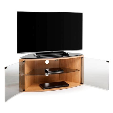 Oak Tv Cabinet With Glass Doors Techlink Bench B6lo Light Oak Corner Tv Stand For Up To 55 Quot Tvs With Glass Door